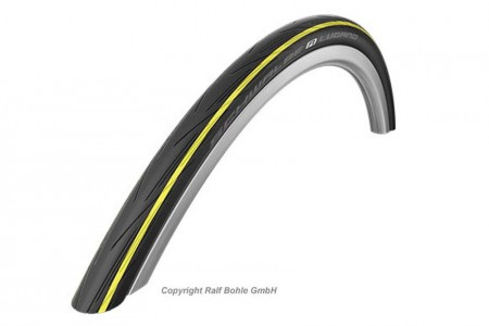 Schwalbe Lugano 700x23c (23-622) Wired Tyre - Black with Yellow stripe